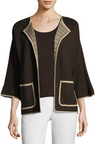 Ming Wang Contrast-Trim Open-Front Jacket, Brown
