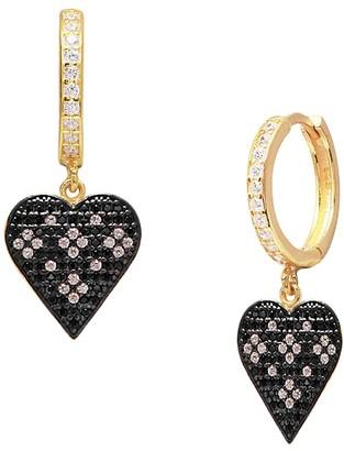 GABIRIELLE JEWELRY 22K Gold Vermeil Cubic Zirconia Heart Drop Earrings