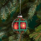 Bloomingdale's Glass Red Plaid Ball Ornament - 100% Exclusive