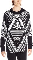 Southpole Men's Flock and Screen Print Long Sleeve Single Jersey Shirt with Triangular Aztec Prints
