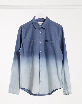 Calvin Klein Jeans long sleeve dip dye chambray shirt in blue