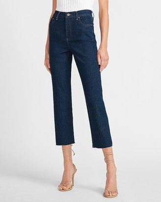 Express Super High Waisted Raw Hem Straight Jeans