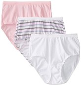 Fruit of the Loom Women's 3 Pack Assorted Cotton Brief Panties