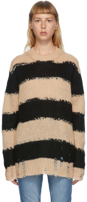 Acne Studios Black and Beige Mohair Striped Sweater