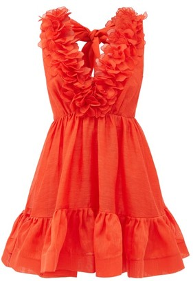 Zimmermann Lovestruck Garland Plunge-neck Linen-blend Dress - Red