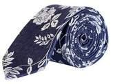 Burton Mens Navy and Sliver Floral Tie