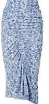 Preen by Thornton Bregazzi Cosima Ruched Floral-print Stretch-jersey Midi Skirt - Blue