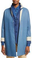 Loro Piana Cedric Long Leather Coat, Blue