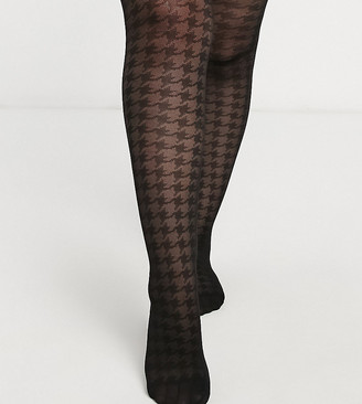 ASOS DESIGN Curve 30 denier large houndstooth print tights