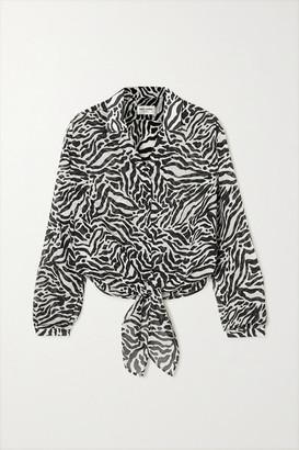 Saint Laurent Tie-front Zebra-print Gauze Blouse - Gray