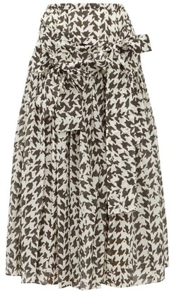 Sara Lanzi Houndstooth-print Cotton-blend Midi Skirt - Womens - Black White