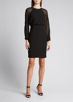 Badgley Mischka Sheer-Button-Sleeve Crepe Sheath Dress