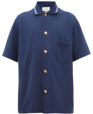 Gucci Logo-engraved Button-down Cotton Polo Shirt - Blue