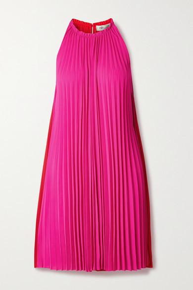 Diane von Furstenberg Amberly Pleated Two-tone Crepe Dress - Pink
