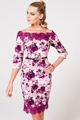 Paper Dolls Pembroke Dusty Blush Floral-Print Belted Bardot Dress
