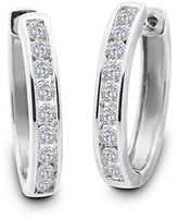 Lord & Taylor Diamond and 14K White Gold Hoop Earrings, 1 TCW - 1 In.