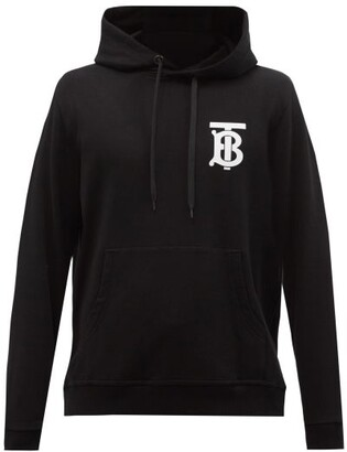 Burberry Landon Tb-logo Cotton Hooded Sweatshirt - Black