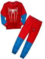 LEMONBABY boys casual spider-man long sleeve pants pajamas set (4Y, )