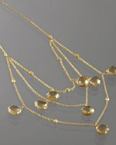 champagne citrine triple layered necklace