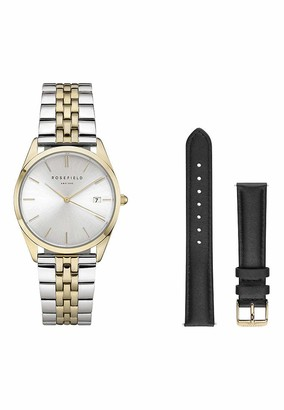 ROSEFIELD Women's Watch The The Ace: Gold and Silver Gift Set with White Dial and 2 Straps - ASGBG-X239