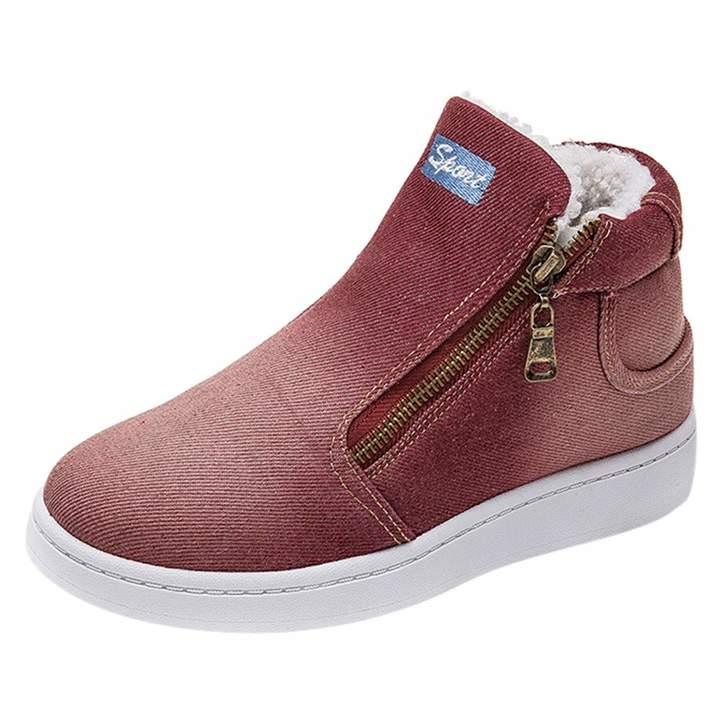 dbd3acf4cd750 SamMoSon Women's Cotton Snow Boots Letter Denim Zipper Thick Warm Winter  Flat Snow Boots Round Toe Shoes
