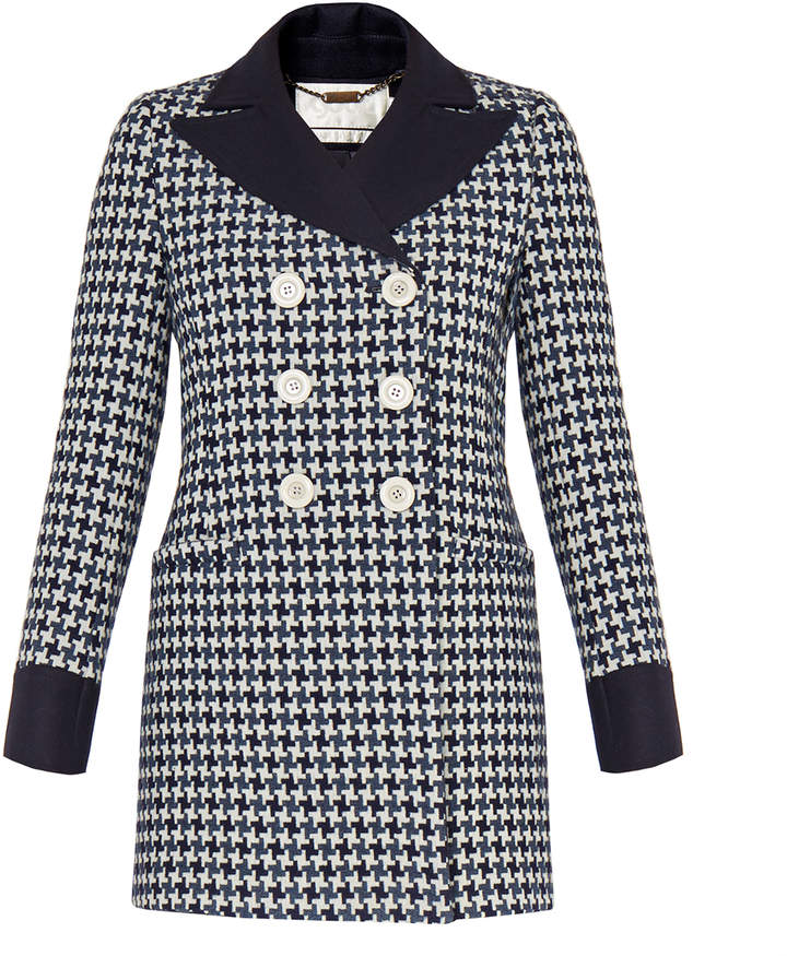 Goat Channing Blue Houndstooth Check Coat