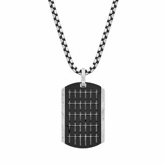"Steve Madden Men's 18"" Small Cross Design Dogtag Necklace with Box Chain in Two-Tone Stainless Steel"