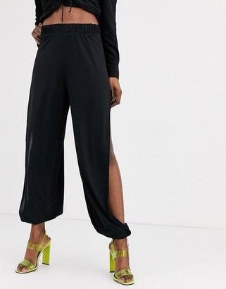 Asos Design DESIGN slinky split side balloon trouser-Black