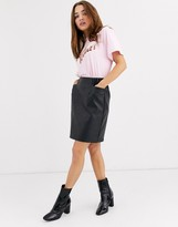 Pieces faux leather mini skirt with oversized pockets in black