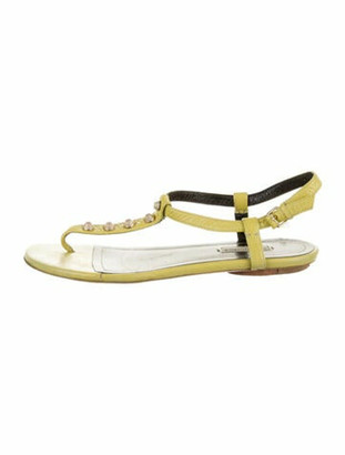 Balenciaga Leather Studded Accents T-Strap Sandals Green