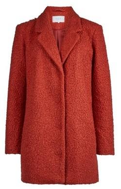 Dorothy Perkins Womens Vila Red Boucle Boyfriend Coat, Red