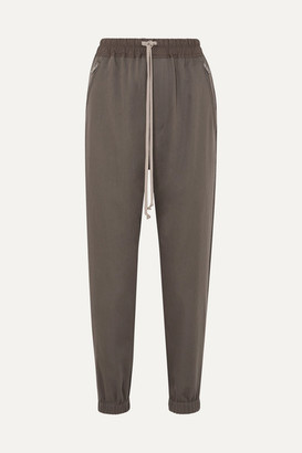 Rick Owens Cotton-trimmed Wool Track Pants - Light gray