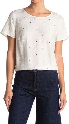 Vince Camuto Studded Flowy Short Sleeve Blouse