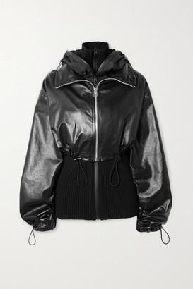 Bottega Veneta Hooded Layered Glossed-leather And Ribbed-knit Jacket - Black