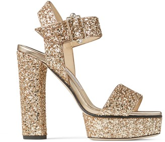 Jimmy Choo MAIE PF/125 Metallic Gold Glitter Fabric Platform Sandals
