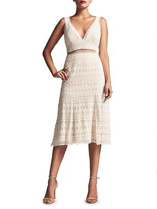 Tadashi Shoji V-Neck Cotton Lace Dress