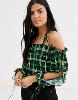 Thumbnail for your product : Lost Ink cold shoulder top in neon grid print
