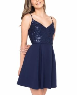 B. Darlin Juniors' Sequin V-Neck Dress