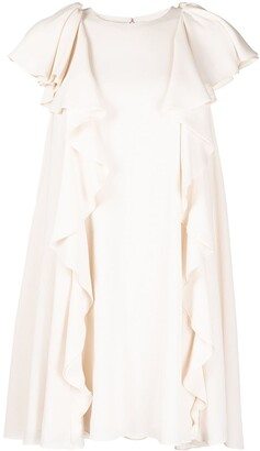 Alexander McQueen Short-Sleeve Pleated Babydoll Dress