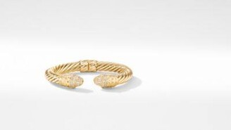 David Yurman Deco Cable Bracelet In 18K Yellow Gold With Pave Diamonds