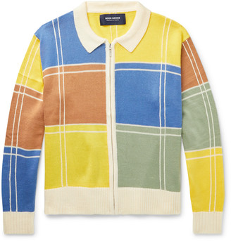 Noon Goons Colour-Block Knitted Zip-Up Sweater