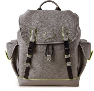 Mulberry New Heritage Backpack Charcoal Heavy Grain With Neon Inking