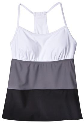 Merona Women's Colorblock Racerback Tankini Swim Top -Gray/Black