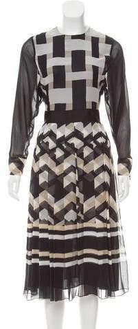 Giambattista Valli Long Sleeve Silk Dress