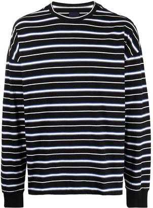 Juun.J striped long-sleeved cotton T-shirt