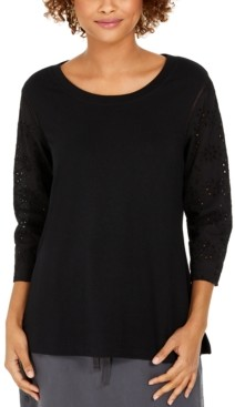 Style&Co. Style & Co Eyelet-Sleeve Cotton Top, Created for Macy's