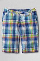 Classic Little Girls Plaid Bermuda Shorts-Reef Blue Plaid