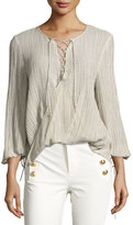 Derek Lam 10 Crosby Long-Sleeve Draped Plissé; Blouse, Khaki