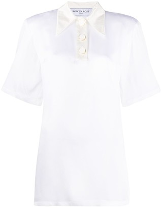ROWEN ROSE Short Sleeve Pointed Collar Shirt
