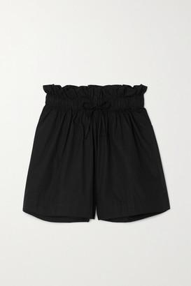 Faithfull The Brand Net Sustain Shelby Gathered Cotton-poplin Shorts - Black